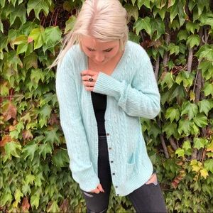 J. Crew light blue cable knit button down cardigan